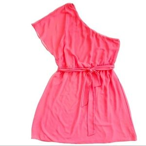 Express Coral One Shoulder Chiffon Lined Dress L